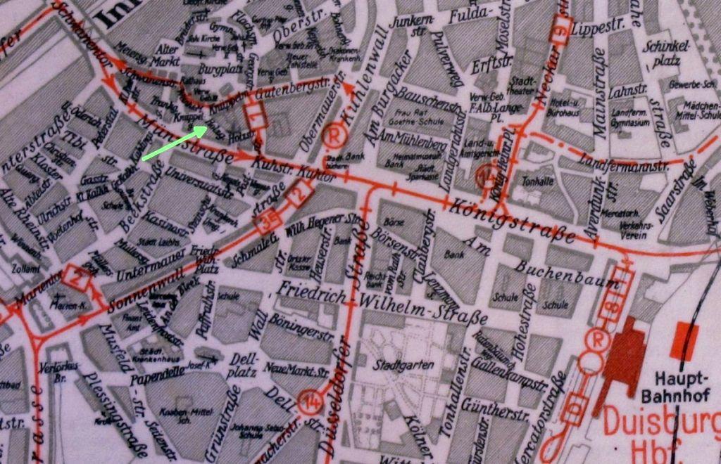 Abbildung 10 (Stadtarchiv Duisburg, MD): Stadtplan 1940 Holzgasse