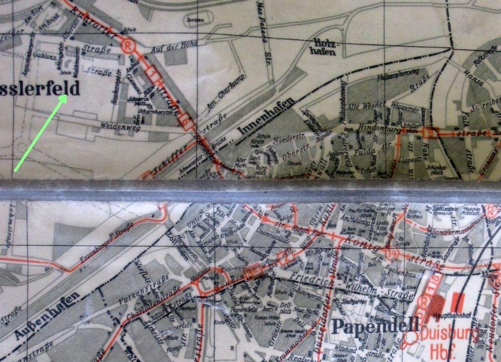 Abbildung 13 (Stadtarchiv Duisburg, MD): Stadtplan 1940 - Weidenweg, Wrangelstraße, Gablenzstraße