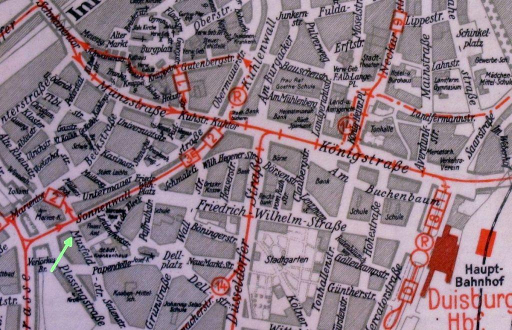Abbildung 19 (Stadtarchiv Duisburg, MD): Stadtplan 1940 Musfeldstraße