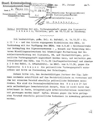 """Abbildung 22: Dokument """"Anordnung der pol. Vorbeugungshaft"""" (Quelle: Landesarchiv NRW – Abteilung Rheinland – BR 1111 Nr. 44)"""