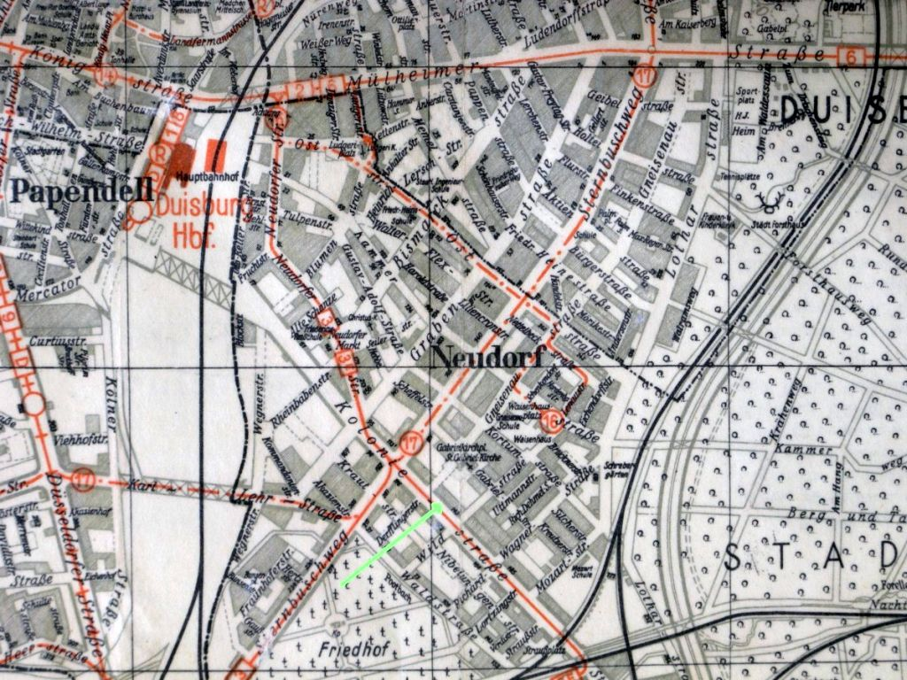 Abbildung 24 (Stadtarchiv Duisburg, MD): Stadtplan 1940 Koloniestraße