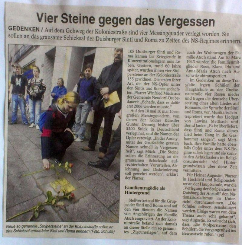 """Abbildung 26 (Stadtarchiv Duisburg, Zeitungsausschnittsammlung, MD): NRZ-Artikel vom 30.5.2006 """"Vier Steine gegen das Vergessen"""""""