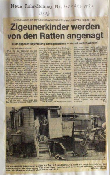 Abbildung 31 (Stadtarchiv Duisburg, Zeitungsausschnittsammlung, MD): NRZ 20.6.1973