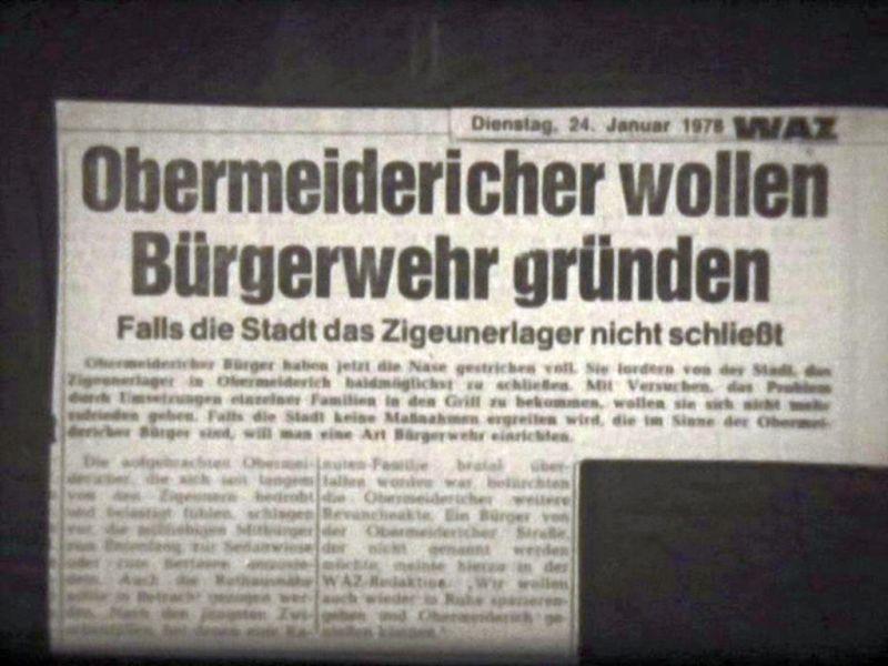 """Abbildung 34: Standfoto aus dem Dokumentarfilm """"Zigeuner in Duisburg"""" von Rainer Komers WAZ 24.1.1978 """"Obermeidericher wollen Bürgerwehr gründen. Falls die Stadt das Zigeunerlager nicht schließt"""""""