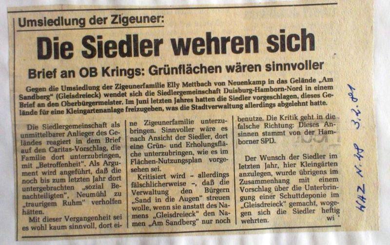 """Abbildung 35 (Stadtarchiv Duisburg, Zeitungsausschnittsammlung, MD): WAZ 3.2.1981 """"Die Siedler wehren sich"""""""