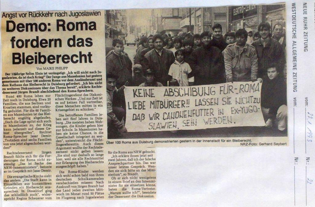 Abbildung 36 (Stadtarchiv Duisburg, Zeitungsausschnittsammlung, MD): NRZ 27.1.1992